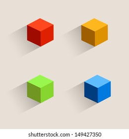 Vintage color set cubes icons, Isometric box icon. Vector illustration