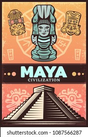 Vintage colored ancient maya poster with ceremonial masks totem and aztec pyramid vector illustration