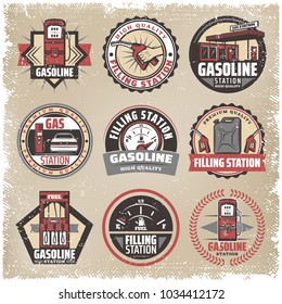 Vintage colored filling station labels set with gasoline pumps canister fuel gauge car refilling petrol nozzle isolated vector illustration