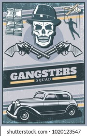 Vintage colored gangster poster with skull wearing hat mafia car money crossed revolvers hand with puppet vector illustration