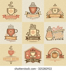 Vintage colored logos for coffee bar. Texture grouped separately and are easily removed.