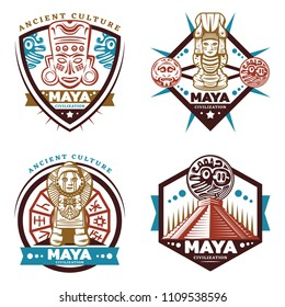 Vintage colored maya civilization emblems set with tribal mask totems idols aztec pyramid mayan calendar isolated vector illustration