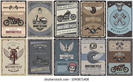 Vintage colored motorcycle posters set with classic motorbikes scooter and moto parts vector illustration