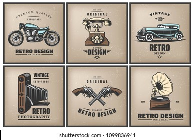 Vintage colored posters set with classic automobile motorcycle telephone camera crossed pistols gramophone isolated vector illustration