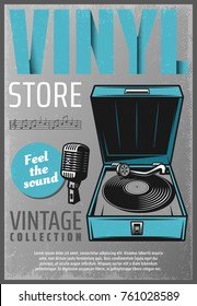 Vintage colored retro music store poster with inscription vinyl turntable microphone and music notes vector illustration
