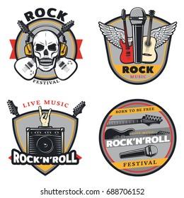 Vintage Colored Rock Music Emblems Set