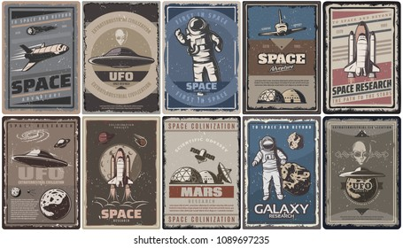 Vintage colored space posters with spaceships ufo planets astronauts asteroids Mars colonization and research isolated vector illustration