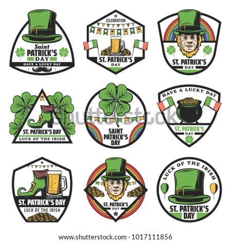 58880401 Vintage colored St Patrick labels set with beer glass clover coins rainbow  leprechaun hat shoe ireland flag isolated vector illustration - Vector