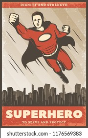 Vintage colored superhero poster with flying powerful super hero wearing cape on cityscape vector illustration