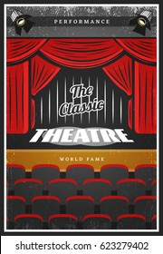 Vintage colored theatre advertising poster with calligraphic inscription stage red curtains and seats vector illustration