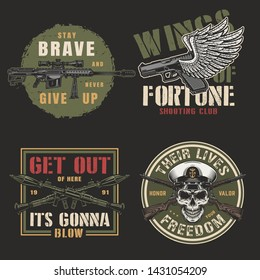 Vintage colorful army emblems with sniper rifle winged handgun crossed rocket launchers firearms and navy officer skull isolated vector illustration