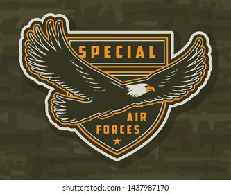 Vintage colorful army patch with flying eagle on military weapons background isolated vector illustration