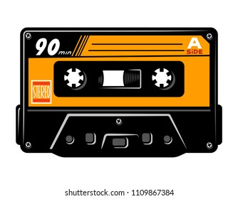 Vintage colorful audio casette concept isolated vector illustration