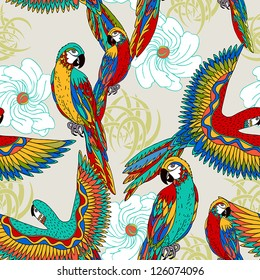 Vintage, colorful background with parrots, theme and exotic beach holiday, fashion seamless pattern, vector wallpaper, graphic birds fabric for design