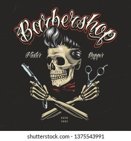 Vintage colorful barbershop logo with hipster skull crossed skeleton hands holding razor and scissors isolated vector illustration