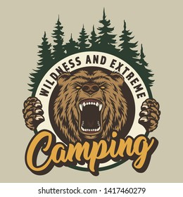 Vintage colorful camping round print with ferocious bear head and forest isolated vector illustration