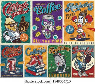 Vintage colorful college posters collection with sneakers books stylish pencil baseball fan tired schoolbag yawning coffee cup cheerleader brush drunk paper cup vector illustration