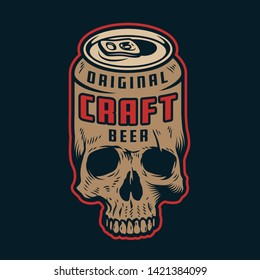 Vintage colorful craft beer concept with skull in shape of beer can isolated vector illustration