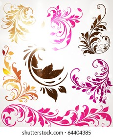 Vintage colorful design elements set for retro design. With leafs and flowers.