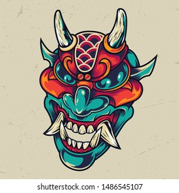 Vintage colorful devil head with horns and fangs isolated vector illustration