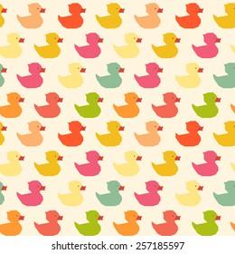 Vintage colorful ducks polygon pattern
