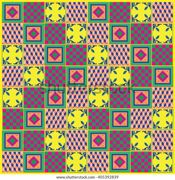 Vintage Colorful Floor Tile Pattern Background Stock Vector