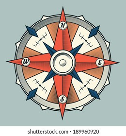 Vintage colorful graphic compass isolated on light background. Vector Illustration.