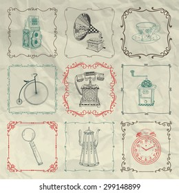 Vintage Colorful Hand Sketched Doodle Icons, Objects and Frames on Crumpled Paper Texture. Rustic Design Elements. Vector Illustration. Camera, Kettles, Coffee Mills. Pen Drawing