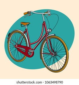 Vintage colorful illustration of red retro bicycle. Perfect for cards, posters, ad.