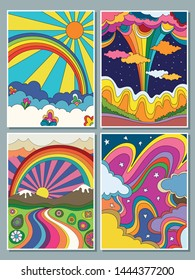 Vintage Colorful Landscapes Psychedelic Art, 1960s, 1970s Hippie Style. Hand Drawn Nature Posters, Covers, Backgrounds