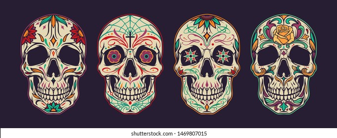 Vintage colorful mexican sugar skulls collection with traditional floral and spiderweb ornaments isolated vector illustration
