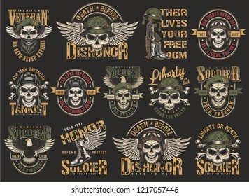 Vintage colorful military emblems set with skulls in pilot tankman soldier navy seal helmets eagle wings boots weapon bones isolated vector illustration
