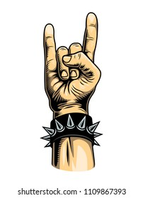 Vintage colorful rock gesture template with spiked leather bracelet isolated vector illustration