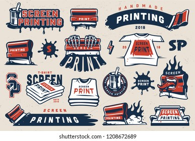Vintage colorful screen printing elements set with squeegees silkscreen serigraphy logos shirts paint blots isolated vector illustration