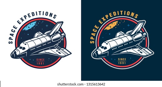 Vintage colorful space round emblem with shuttle and starry sky isolated vector illustration