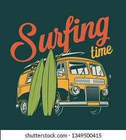 Vintage colorful surfing label with surf van and surfboards isolated vector illustration