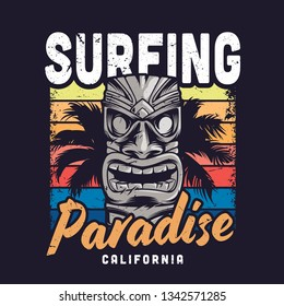 Vintage colorful surfing paradise template with hawaiian traditional tribal tiki mask and palm tree isolated vector illustration