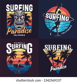 Vintage colorful surfing prints set with hawaiian tiki mask palm trees and man holding surfboard on sea background vector illustration