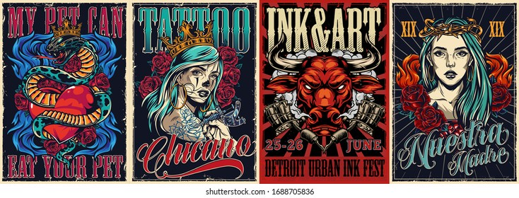Vintage colorful tattoo conventions posters with letterings angry red bull head snake entwined about heart rose flowers tattoo machines and beautiful chicano girls vector illustration