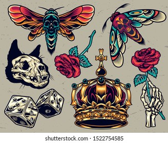 Vintage colorful tattoos composition with cat skull dice ornate royal crown skeleton hand holding rose death head moths isolated vector illustration