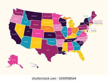 Vintage colorful United State of America map with states names. Vector.