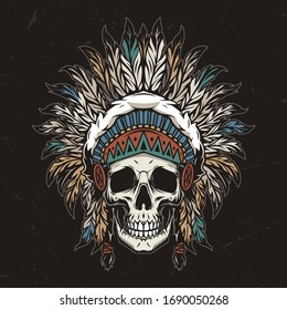 Vintage colorful wild west template with skull in american indian tribal feathers headwear isolated vector illustration