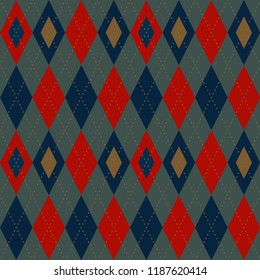 Vintage colors Christmas pattern. Retro red, blue, green argyle design. Home holiday decoration, interior textile, fabric, wallpaper, invitation cards background, flyers, banners. Vector illustration.