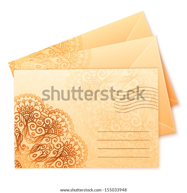 Vintage colors ornate isolated vector envelops