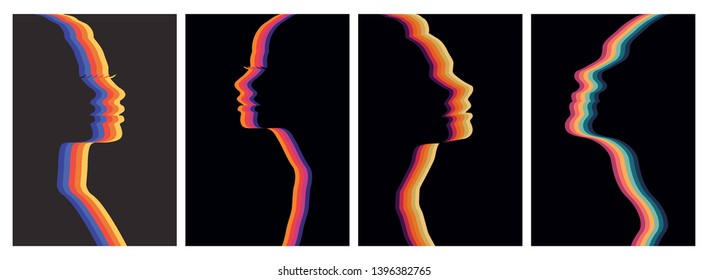 Vintage Colors Wavy Stripes Women Silhouettes Backgrounds Set