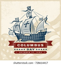 Vintage Columbus Day Label. Editable vector illustration in retro woodcut style with clipping mask.