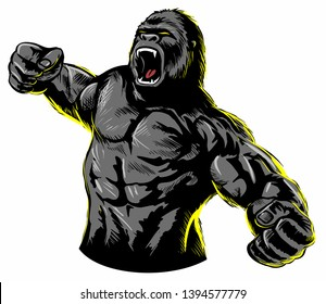 Vintage, comic book style roaring gorilla. Isolated on white background.