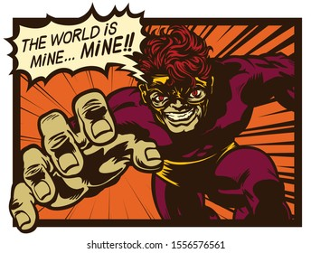 Vintage comic book super villain with speech bubble scheming evil plan to conquer and rule the world retro pop art comics vector illustration