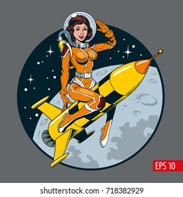 A vintage comic style sexy astronaut woman in space suit and helmet riding a rocket. Vector illustration.