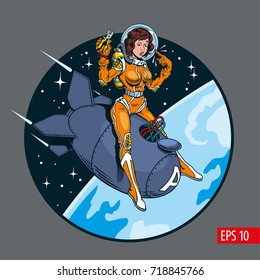 A vintage comic style sexy woman in space suit and helmet riding a atomic bomb. Vector illustration.